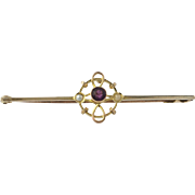 Amethyst Seed Pearl Pin - 9k Yellow Gold Women's Fine Estate Brooch Cross