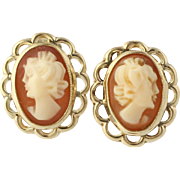 Cameo Carved Shell Studs - 10k Yellow Gold Women's Fine Estate Raised Portrait