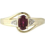 Amethyst & Diamond Cocktail Ring - 10k Yellow & White Gold Bypass Promise .46ctw