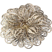 Vintage Floral Lace Brooch - 850 Silver Chunky Women's Filigree Flower Pin