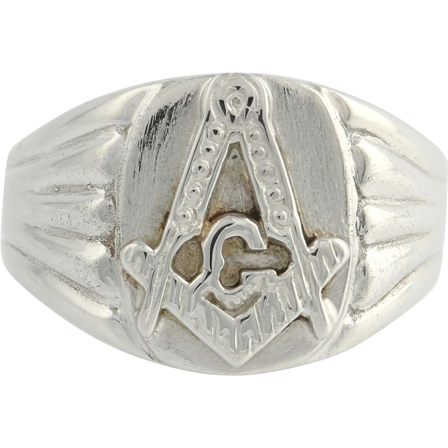 Masonic Ring Master Mason - 14k White Gold Solid Back Band Masons