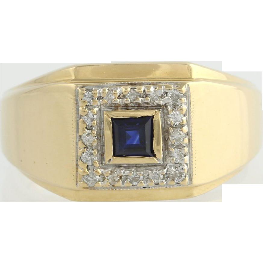 .20ct Genuine Sapphire & Diamond Men's Ring - 14k Yellow Gold