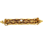 Antique Victorian Era Pin - 14k Yellow Gold Diamond Solitaire Ornate Woven Bar