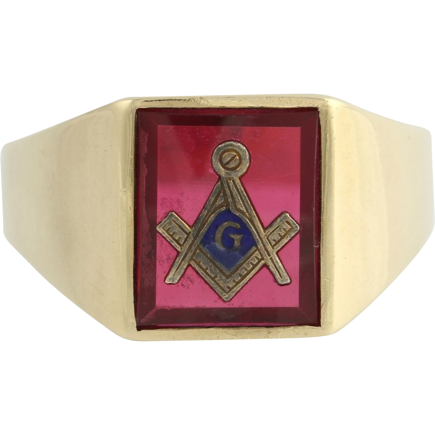 Classic Red Stone Masonic Masons Symbol Ring- 10k Solid Gold Square & Compass