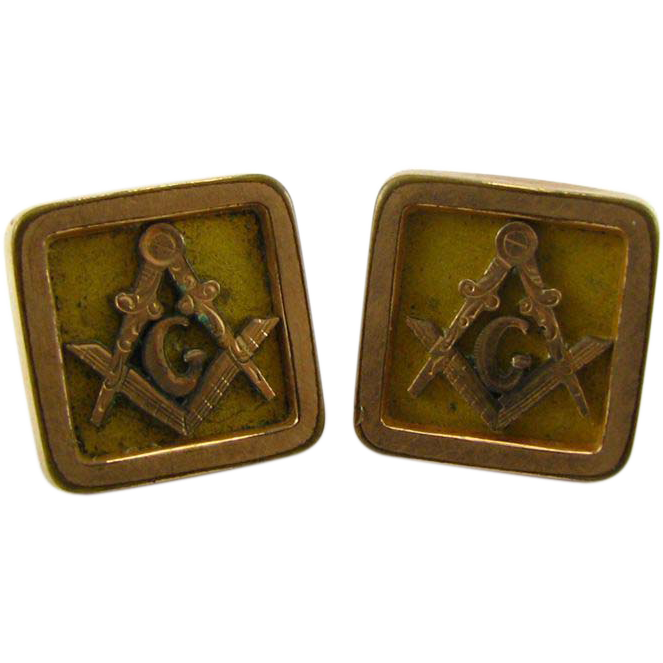Masonic Vintage Square Compass Cuff Link Lapel Buttons