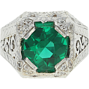 Art Deco Men's Simulated Emerald & Diamond Ring - 14k White Gold Old Mine .25ctw