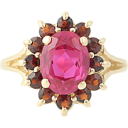 Synthetic Ruby Garnet Halo Ring - 14k Yellow Gold Red Gemstone 2.70ctw