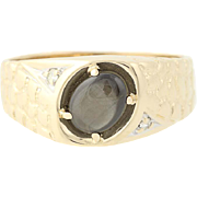 Black Star Sapphire Ring - 14k Yellow Gold Nugget Pattern Diamond Accents 1.04ct