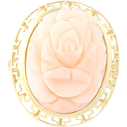 Carved Coral Pink Flower Ring - 14k Yellow Gold Vintage Style