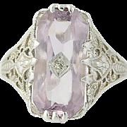 Art Deco Ostby & Barton Amethyst Ring - 14k Gold Diamond Size 6 Vintage 3.61ctw
