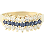 Diamonds & Blue Sapphires Ring - 14k Yellow Gold Vaulted Style Women's 0.99ctw