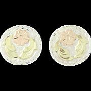Vintage Floral Cufflinks - Sterling Silver 18k Gold Plafina Mexico Folding Bar