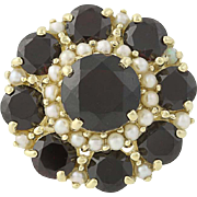 Vintage Garnet & Seed Pearl Ring - 14k Yellow Gold Cluster Halo 5.50ctw