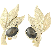 Black Sapphire Leaf Earrings - 14k Yellow Gold Non-Pierced Clip-Ons 2.20ctw