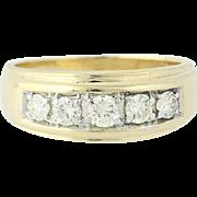 Men's Diamond Ring - 14k Yellow Gold Five-Stone Round Cut 1.00ctw