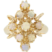 Vintage Opal Cluster Ring - 14k Yellow Gold Chunky Statement Women's
