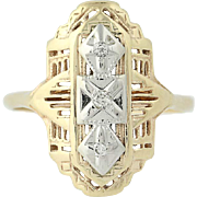 Art Deco Diamond Ring - 14k Yellow White Gold Vintage Ornate Openwork