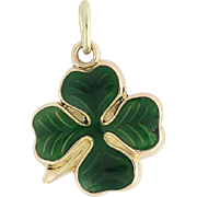 Four-Leaf Clover Charm - 14k Yellow Gold Green Enamel Shamrock Good Luck Gift