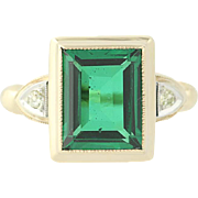 Vintage Green Stone Ring 10k Yellow Gold Diamond Accents 1940s Synthetic Spinel