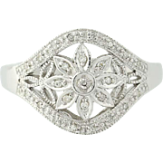 Diamond Flower Ring - 10k White Gold Floral Openwork Women's
