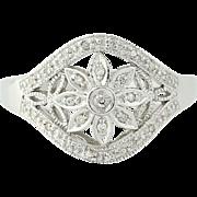 Diamond Flower Ring - 10k White Gold Floral Openwork Women's