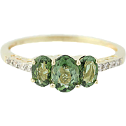 3-Stone Green Tourmaline Ring - 10k Yellow Gold Blue Topaz Accents 1.88ctw
