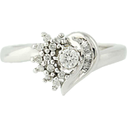Diamond Cluster Heart Ring - 10k White Gold Women's 0.19ctw