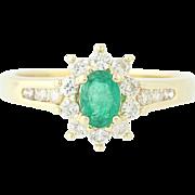 Emerald & Diamond Halo Ring - 14k Yellow Gold Oval Brilliant .87ctw