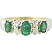 3-Stone Emerald Ring - 10k Yellow Gold Diamond Accents Marquise Cut 1.01ctw