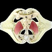 Art Deco Shriners Ring 10k Yellow Gold Masonic Vintage Scimitar Crescent Diamond