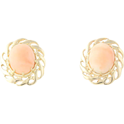 Pink Coral Earrings - 14k Yellow Gold Oval Solitaire Pierced