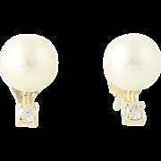 Cultured Pearl & Diamond Stud Earrings - 14k Yellow Gold 7.6mm Pierced .10ctw
