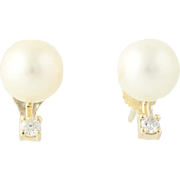 Cultured Pearl & Diamond Stud Earrings - 14k Yellow Gold 7.6mm Pierced .10ctw