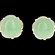 Jadeite Stud Earrings - 18k Yellow Gold Screw-On Backs Pierced Cabochon Cut