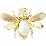 Vintage Flying Bug Brooch - 14k Yellow Gold Freshwater Pearl Insect Pin