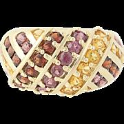 Rhodolite Garnet, Mozambique Garnet, & Citrine Ring - 14k Yellow Gold 2.49ctw