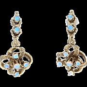 Vintage Opal Dangle Flower Earrings - 14k Yellow Gold Pierced Cluster 0.34ctw