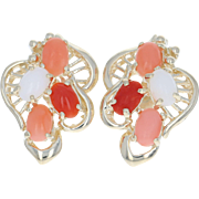 Coral Earrings - 14k Yellow Gold Pierced Oval Cabochon 2.75ctw