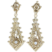 Vintage Floral Dangle Earrings - 14k Yellow Gold Diamond Accents Pierced