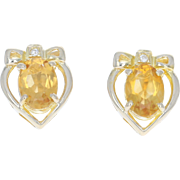 Heart With Bow Citrine Earrings - 18k Yellow Gold Diamonds Orange Oval 1.61ctw