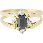 Reversible Cubic Zirconia Ring - 14k Yellow Gold Black & Clear CZs Size 7 1/2