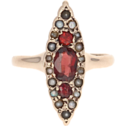 Victorian Garnet & Pearl Ring - 10k Yellow Gold Antique Marquise 0.40ctw