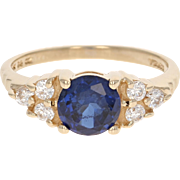 Synthetic Blue Sapphire Ring - 14k Yellow Gold Cubic Zirconias 0.77ctw