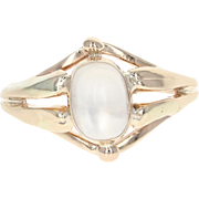 Edwardian Moonstone Ring - 14k Yellow Gold Vintage Cabochon Solitaire 1.35ct