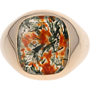 Moss Agate Signet Ring - 14k Yellow Gold Men's Size 10 3/4