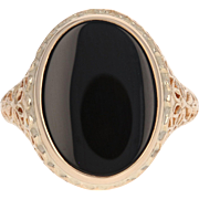 Floral Filigree Onyx Ring - 14k Yellow Gold Oval Cut