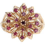 Ruby Floral Cluster Ring - 10k Yellow Gold Size 5 1/2 Round Cut .76ctw