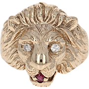 Diamond & Ruby Lion's Head Ring - 10k Yellow Gold Size 9 Round Cut .17ctw