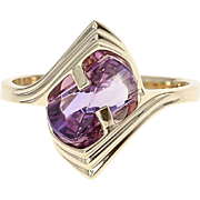 Amethyst Bypass Ring - 14k Yellow Gold Fantasy Cut Solitaire Size 6 1/2