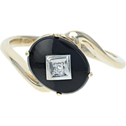 Onyx Bypass Ring - 10k Yellow Gold Diamond Accent Women's Size 6 1/2